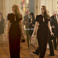 age films - Beautiful Blake Lively Dresses Age of Adaline Film Sheath Sexy V Neck Short Sleeve Keyhole Neck Long Formal Dresses Party Evening Gowns