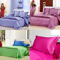 Wholesale 2015 pc Luxury Queen King Bedding Standard Silk Satin Pillow Case Multiple Colors