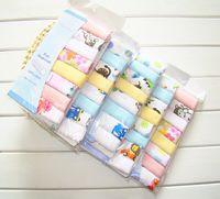 Wholesale children cotton gauze double baby bibs handkerchief printed handkerchief towel put gauze feeding towel child