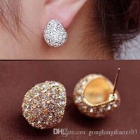 Wholesale New Fashion Women Elegant Earrings Silver Plated Stud Clear Crystal Rhinestone Stud Earring