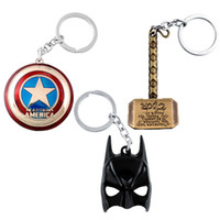 batman shield - 2015 Hot Sale New Hero The Avengers Marvel Character Captain America Shield Batman Mask KeyChain Keyrings Key Chain