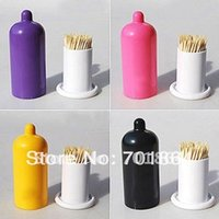 assorted condoms - Assorted Colors Novelty products condom design toothpick Tube holder innovation item funny gift