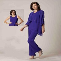 Wholesale 2016 New Jewel Mothers Suit Chiffon Purple Designer Mother Of The Bride Groom Pant Suits Mother Dresses With Jacket