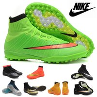 2016 Nike Mercurial Superfly CR TF Football Bottes 100% chaussures pour hommes d'origine Football Shoes Chaussures de football homme Soccer intérieur Chaussures de sport