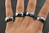Wholesale Faceted Magnetic Hematite Band Rings mm width Mix inner size pc Fashion man woman jewelry
