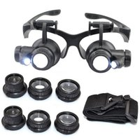 Wholesale 2015 New Set X X X X LED Double Eye Jeweler Watch Repair Magnifying Glasses Loupe Magnifier With Battery