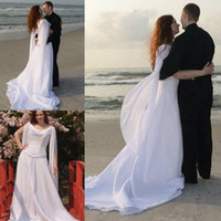Trumpet/Mermaid Reference Images 2016 Spring Summer Retro Celtic Wedding Dresses with Long Sleeves Angel Wings Flowing Chiffon Sweep Train Lace-up Beach Bridal Gowns Modest Sheath Wedding Gown