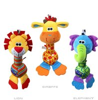 Wholesale 1Pcs Soft Baby Toy cm Cartoon Animal Teether Rattle Squeaker BB Sounder Early Educational Doll