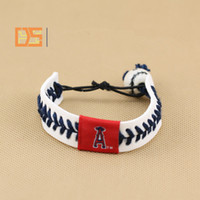 Wholesale USA Professional baseball league bracelets leather porcelain bead rope braid wristbands baseball game funs bracelet all team OEM outdoor acc