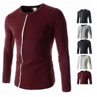 Wholesale 2015 autumn new men Shirt stripe men breaking trade bottoming shirt Slim O neck long sleeved T shirt