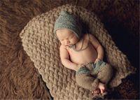 Wholesale oy Toddler Crochet Knit Cotton Handmade crochet Hat Newborn Boy Girls Infant Costume photo Photogragh picture outfits P92