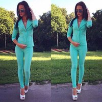 Cheap Work style suit for women 2015 new fashion autumn winter sky blue 2 pieces set tops and pants set for women FG1510