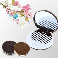 design plastic comb - Hot Sale Promotion Mirror Makeup Chocolate Comb New arrival High Quality Cute Cookie Shaped Design
