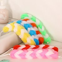 Wholesale bath rubbing towel Hemp flowers type braided thickened bath ball shower brush pull back bath flower