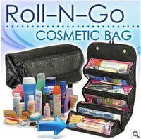 Wholesale 2 colors New storage Bags Roll N Go Cosmetic Toiletries Makeup Organiser Bag Pocket Travel Compartment foldable wash Bag LJJC951