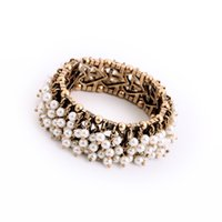 boxed greeting cards - Fashion Pearls Lady Bracelets Vintage Link Chain Girlfriend Gifts With box Greeting Cards Jewelry Accessories Collection a