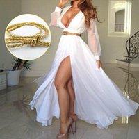 Cheap New Women Boho Maxi Dress Chiffon Long Sleeve Fashion Dresses Pleated Long Sundress V neck High Split Casual Party Dress