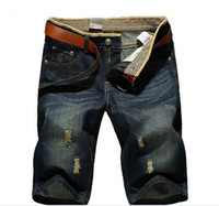 designer casual jeans - Summer Casual Cotton mens jean shorts Fashion Brand designer retro Men s hole Knee Length denim Shorts jeans trousers Plus Size N467