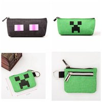 Wholesale Minecraft Creative Student Stationery Canvas Pencil Case Pencil Bag Mini Coin Purse Christmas Gifts for Kids Styles