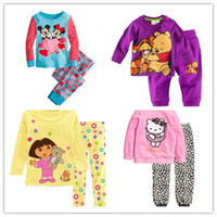baby clothes basics - Girls Pajamas Set Cotton Cartoon Printing Soft Children Homewear Long Sleeved Basic Sweet Princess High Quality Breathable Kid Baby clothing