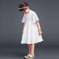 Wholesale Korean Clothing Crochet - Wholesales 2015 Korean Babys, Kids Clothes spring summer girls short sleeve cotton crochet lace hollow out princess party tutu dress LL-856