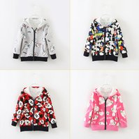 age hood - Children Leisure Jacket Autumn Hot Sale Korean Style Girls Hooded Outwear Printed Pure Cotton Kids Top Fit2 Age T1451