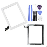 Wholesale 50pcs For iPad Touch Screen Glass Digitizer Assembly Replacement Front Panel with Home Button Adhesive Sticker With Repair Tool