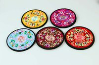 Wholesale Shipping free low price China style Classic national embroidery coaster Cup mat heat insulation pad different colors pieces