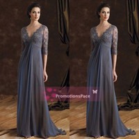 aline prom dresses - Empire Waist Lace Chiffon Mother Dresses Deep Vneck Half Sleeves Aline Formal Dresses Dark Navy Prom Evening Party Dresses Cheap Gowns