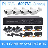 Wholesale Home Surveillance CCTV Security DVR Kits Channel D1 DVR and Outdoor Metal IR Camera TVL Power Supply Cables CCTV Systems