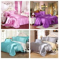 Wholesale Elegant New Pure Satin Silk Bedding Set Home Textile Bed Sheet Duvet Cover Pillowcases Queen King Super King Size