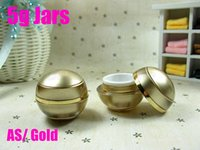Wholesale 5g AS golden jars for cosmetic mini sample jars cosmetic jar refillable bottle Empty containers