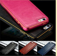 aluminum frame - Hot Luxury Aluminum Metal Frame Leather Back Case Cover For apple iPhone s PLUS s
