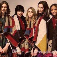 Wholesale 2014 New Contrast Color Cape Woollen Blanket Coat Multipurpose Blanket Coat Women Shawl Fashion Star Show Blanket Coat Ponchos Scarf Wraps