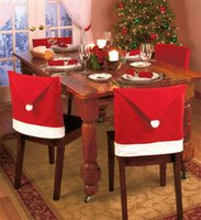 Wholesale Christmas Xmas home decoration ornamentation Santa Claus Red Hat caps Chair Back Covers for Christmas Dinner party Decor hotel layout