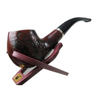 wooden smoking pipe - New Hot Sale Classic Wooden Enchase Carved Smoking Cigarette Pipes Cigar Filter Tobacco Pipe
