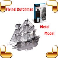 Wholesale New Year Gift Flying Dutchman D Model Metal Flag Ship Office Home Decoration DIY Alloy Battle Boat Puzzle Toys For Men
