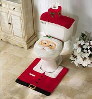 beige bathroom set - New Best Happy Adornos Navidad Santa Toilet Seat Cover Rug Bathroom Set Christmas Decorations For Home Enfeites De Natal