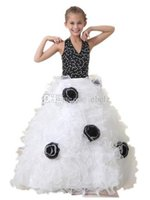 Wholesale 2015 New Design Real Pictures High Quality White and Black Organza Beads Ball Gown Flower Girls Dresses Girls Pageant Dresses Custom Made
