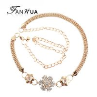 Cheap New 2014 Wholesale Items Women's Distinctive Gold Plated Alloy Rhinestone Belts Women Accessories