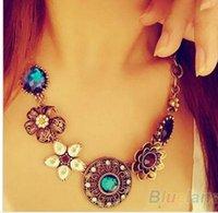 bib necklaces style - Retro Vintage pendant necklaces European Style chunky Gorgeous Austria Turquoise Crystal Flowers Bib Statement Necklace for Wedding Party