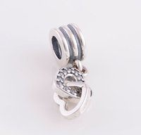 Wholesale INTERLOCKED HEARTS DANGLE CHARM DIY Beads Solid Silver Not Plated Fits Pandora Bracelet Charms