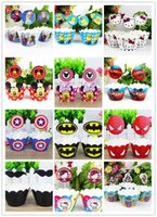 Wholesale Cartoon frozen mickey Cupcake Wrappers and Toppers for Kids Birthday Party Christmas Decoration Supplies Decorative Crafts