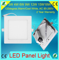 No AC110V-265V 2835 3W 4W 6W 9W 12W 15W 18W Led Recessed panel light Lamp Square Shape Ultra Thin AC85-265V Cool Warm White For Home Office Mall hospital Hotel