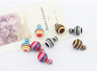screw back earrings - 12pairs HOT Fashion New Multicolor Celebrity Double Round Ball Beads Ear Plug Brand Earrings Women s Jewelry Drop Free