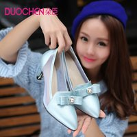 Wholesale 2015 spring sweet bow gauze shallow mouth pointed toe shoes thick heel high heeled shoes female plus size women s shoes