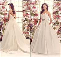 Cheap A-Line Wedding Dresses Sweetheart Neckline Lace Bodice Ribbon Beads Sash Double Box Pleated Satin Skirt with Side Pockets Cathedral Train