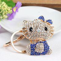 Wholesale Cute Butterfly Keychain - Butterfly Blue Hello Kitty Cat Cute Crystal Charm Purse Handbag Car Key Keyring Keychain Party Accessories Birthday Gift