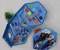 Wholesale 2015 Frozen Princess stationery set school supplies Paint Watercolor Painting Kit piece Color Pen girl Birthday gift for kids