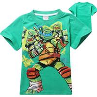 Wholesale 2014 Children Teenage Mutant Ninja Turtles Short Sleeve T Shirt Tops Boy Fashion Printed Cartoon Tops Children s Clothes L1B52A